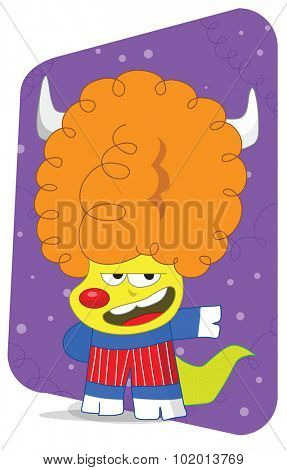 Big orange Afro retro dog with pig hand and feet, alien monster in a stretchy outfit for dance.