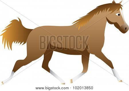 Side cartoon illustration of running or trotting horse, isolated on white background.