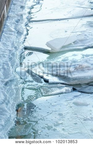 Chunks Of Ice On Water