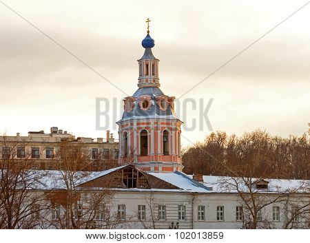 Bell Tower Andreevskogo Of Monastery At St. Andrew's Quay In Moscow