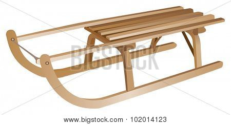 Antique hand-made wooden winter luge or sled, also called a toboggan, isolated against a white background.