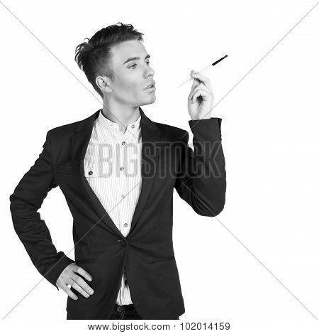 stylish young men with make up brush in