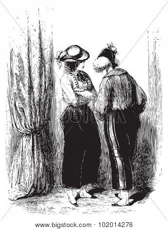 A private conversation of two woman behind a curtain. From the Oeuvres choisies de Gavarni, Paris, 1848 book.