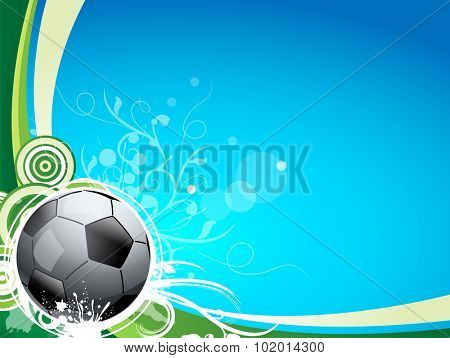A soccer sport ball on a blue and green background, with floral lines and swirls. Great for a sport card or postcard