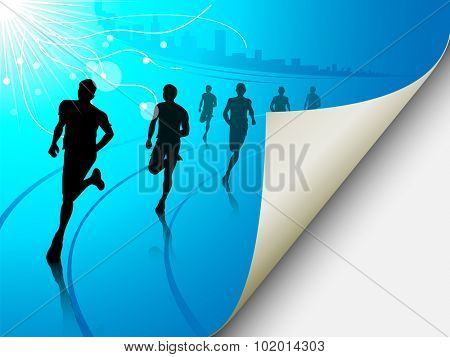 A set of six runners or marathon runners, running on a track on an abstract city or cityscape background with a sun. Vector illustration. Page looks like it is flipping, can easily add content there.