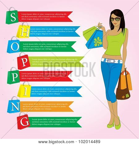 Girl with shopping bags, paper bags with the word shopping, info