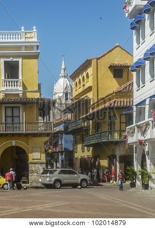 Main Square Of Historic Center Of Cartagena Colombia