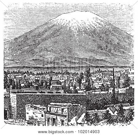 Arequipa and the Misti volcano old engraving, in 1890. Old engraved illustration of Arequipa and his volcano, Peru.
