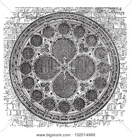 Dean's eye rose window in the North Transept of Lincoln Cathedral, England. Old engraving. Old engraved of Dean's eye rose window, in the Cathedral Church of the Blessed Virgin Mary of Lincoln.