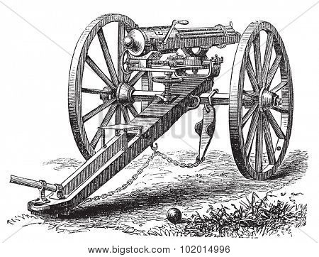 Galting gun vintage engraving. Old engraved illustration of a Galting gun. Gatling gun was designed by the American inventor Dr. Richard J. Gatling in 1861