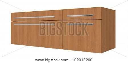 Bedroom wooden dresser with drawers, with chrome tube handles, isolated against a white background