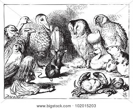 Alice in Wonderland. The mouse tells Alice a story. The mouse is telling a story to the crowd of animals.Alice's Adventures in Wonderland. Illustration from John Tenniel, published in 1865.