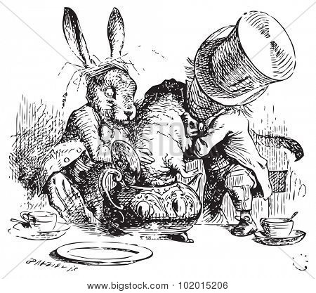 Mad Hatter and March Hare dunking the Dormouse. ...the last time she saw them, they were trying to put the Dormouse into the teapot. Alice's Adventures in Wonderland original vintage illustration.