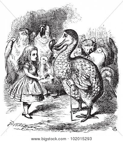 Alice and the Dodo. Then they all crowded round her once more, while the Dodo solemnly presented the thimble.Alice's Adventures in Wonderland. Illustration from John Tenniel, published in 1865.