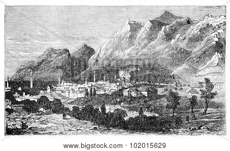 Ancient city of Antioch on the Orontes, currently known as Antakya, in Turkey. Vintage engraving. The city where the followers of Jesus Christ were called Christians for the first time.