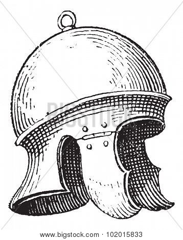 Roman legionnaire's helmet or galea vintage engraving. Old engraved illustration of legionnaire's helmet.