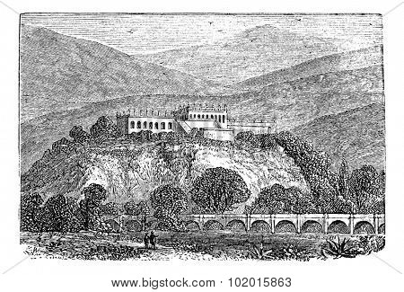 Chapultepec Park bosque in Mexico city, in late 1800s vintage engraving.  Old engraved illustration of a Chapultepec Park, in Mexico City.