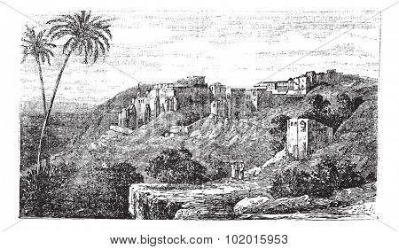 Bethlehem, city, Palestine, Israel vintage illustration. Old engraved illustration of the city, Bethlehem, Palestine, Israel.