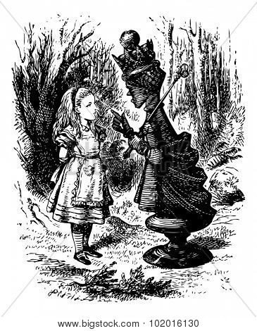 The Red Queen chastises Alice - Original book engraving.