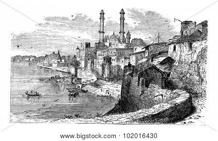 Varanasi or Banares or Banaras, in Uttar Pradesh, India, during the 1890s, vintage engraving. Old engraved illustration of Varanasi. Trousset Encyclopedia