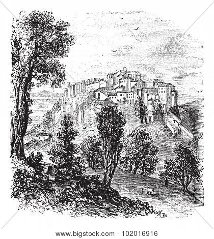 Chiusi in Tuscany, Italy, during the 1890s, vintage engraving. Old engraved illustration of Chiusi. Trousset Encyclopedia