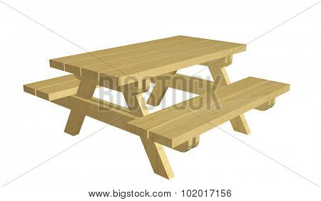 Wooden picnic table, 3d illustration, isolated against a white background