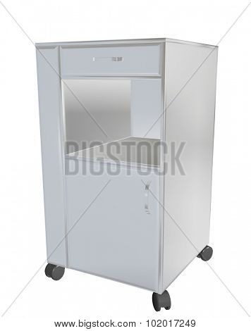 Stainless steel mobile cupboard, 3d illustration, for medical use, isolated against a white background