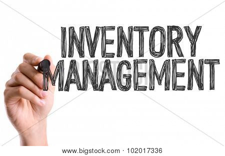 Hand with marker writing: Inventory Management