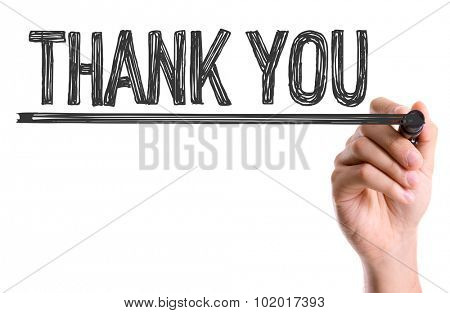 Hand with marker writing: Thank You