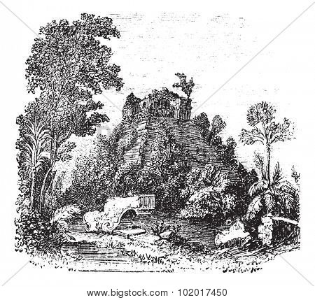 The castillo at Chichen Itza, in Yucatan, Mexico, vintage engraving. Old engraved illustration of the castillo at Chichen Itza. Trousset Encyclopedia
