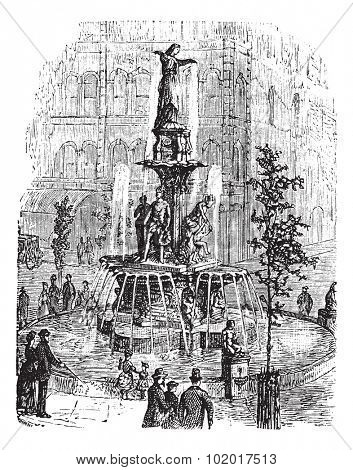 Tyler Davidson Fountain or Genius of Water or The Lady or The Fountain, in Cincinnati, Ohio, USA, during the 1890s, vintage engraving. Old engraved illustration of the Tyler Davidson Fountain.