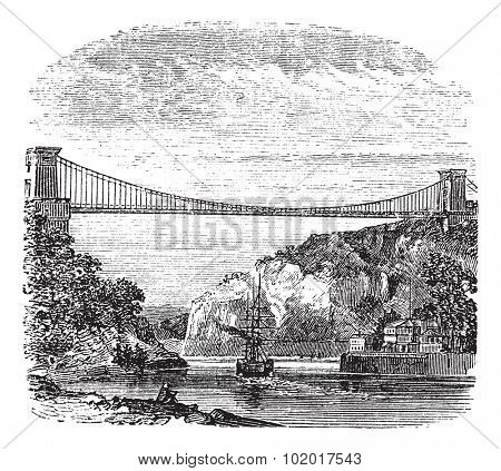 Clifton Suspension Bridge, in Clifton, Bristol to Leigh Woods, North Somerset, England, during the 1890s, vintage engraving. Old engraved illustration of the Clifton Suspension Bridge. Trousset Enc.