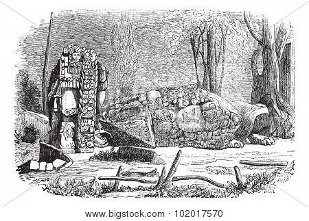 Copan in Honduras, during the 1890s,vintage engraving. Old engraved illustration of Copan showing stelae sculpture. Trousset Encyclopedia