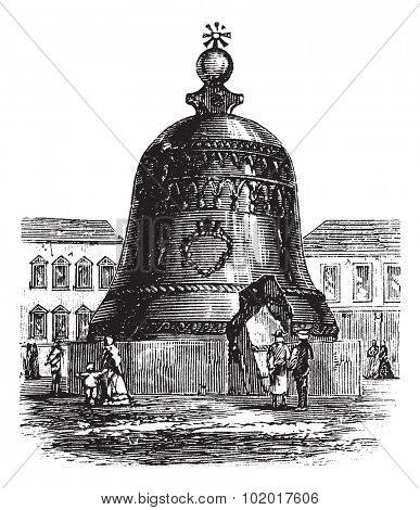 Tsar Bell or Tsarsky Kolokol or Tsar Kolokol III or Royal Bell, in Moscow, Russian Federation, during the 1890s, vintage engraving. Engraved illustration of Tsar Bell showing a broken slab. Trousset.