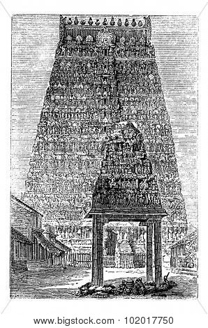 Kumbakonam or Coombaconum, in Tamil Nadu, India, during the 1890s, vintage engraving. Old engraved illustration of Kumbakonam. Trousset Encyclopedia