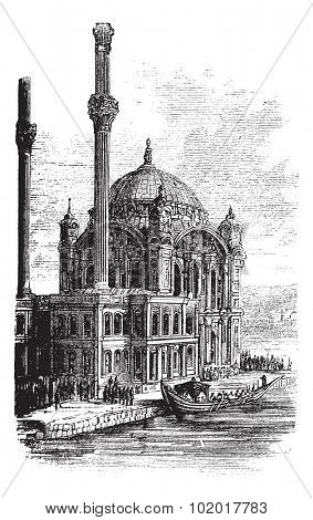 Sultan Ahmed Mosque or Blue Mosque in Istanbul, Turkey, during the 1890s, vintage engraving. Old engraved illustration of the Sultan Ahmed Mosque. Trousset Encyclopedia