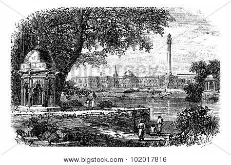 Government House ,  Ochterlony Monument, Calcutta, India, old engraved illustration of Government House  and  Ochterlony Monument, Calcutta, India, 1890s. Trousset encyclopedia.