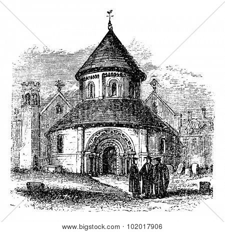 Church of the Holy Sepulchre, Cambridge, United Kingdom, vintage engraving. Old engraved illustration of the Church of the Holy Sepulchre with thre scholars standing in front of it, 1890s. Trousset