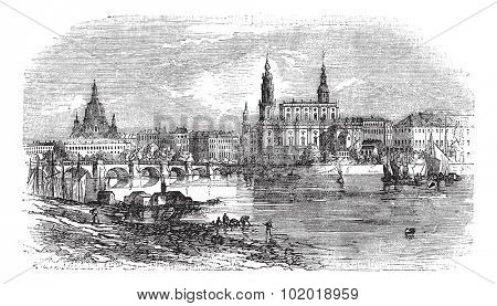 Dresden in Saxony, Germany, during the 1890s, vintage engraving. Old engraved illustration of Dresden as viewed from the Elbe River bank. Trousset Encyclopedia