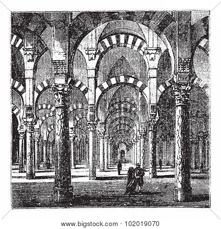 Cathedral-Mosque of Cordoba in Andalusia, Spain, during the 1890s, vintage engraving. Old engraved illustration of the interior of the Cathedral-Mosque of Cordoba. Trousset Encyclopedia