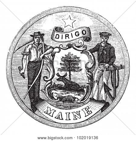 Great Seal of the State of Maine, United States, vintage engraving. Old engraved illustration of Great Seal of the State of Maine isolated on a white background. Trousset Encyclopedia