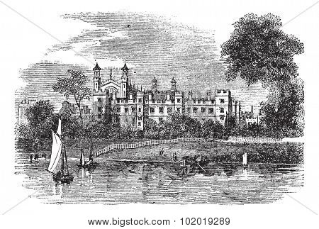 Eton College in Windsor, England, United Kingdom, during the 1890s, vintage engraving. Old engraved illustration of Eton College. Trousset Encyclopedia