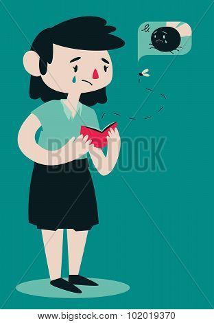 Sad Broken Woman Opening Wallet