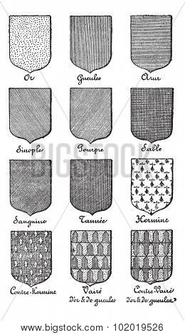 Variety of enterprise enamels used in Heraldry vintage engraving. Old engraved illustration of enamel colors from Heraldry.  Trousset encyclopedia (1886 - 1891)