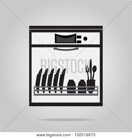 Dishwasher Symbol, Icon Illustration
