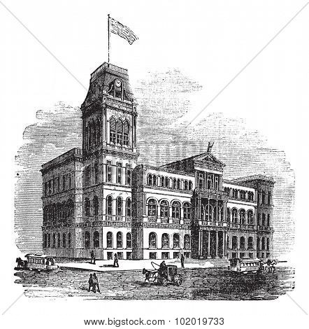 Louisville City Hall in Louisville, Kentucky, United States, during the 1890s, vintage engraving. Old engraved illustration. Trousset encyclopedia (1886 - 1891)