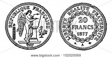 Gold coin of 20 francs, vintage engraved illustration. Trousset encyclopedia (1886 - 1891).