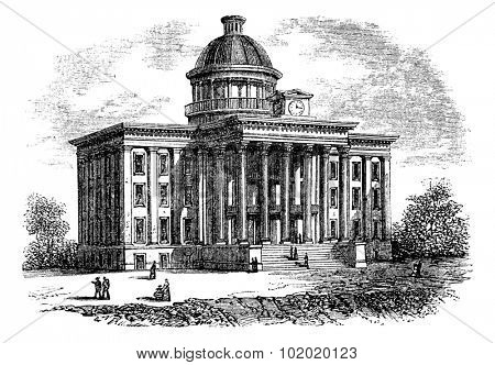 Alabama State Capitol Building, United States, vintage engraved illustration. Trousset encyclopedia (1886 - 1891).