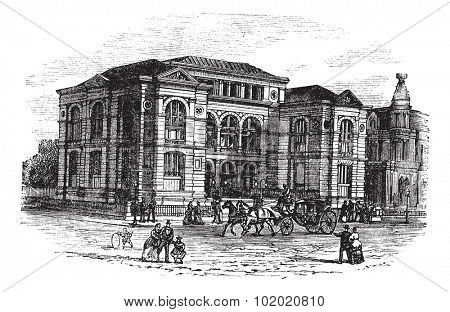 Lenox Library in Massachusetts, USA, vintage engraved illustration. Trousset encyclopedia (1886 - 1891).