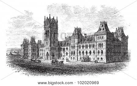 House of Parliament, Ottawa, Ontario, Canada, vintage engraved illustration. Trousset encyclopedia (1886 - 1891).